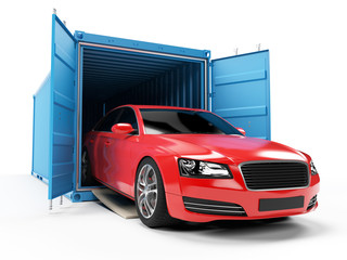 3d rendered illustration of a car inside of a container
