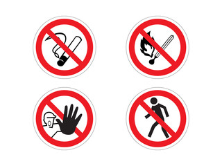 Regulatory signs: no smoking, no fire, prohibition, no crossing