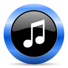music blue glossy icon