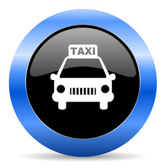 taxi blue glossy icon