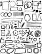 Doodle, Set hand drawn shapes, line, circle, square, triangle