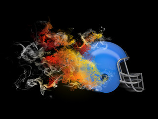 American football helmet in the colored smoke