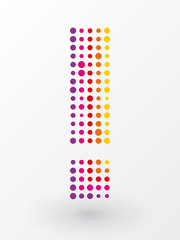 exclamation mark composed of colorful dots