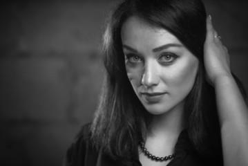 young lovely brunet closeup portrait