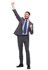 happy businessman with hands up