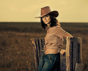 young cowgirl portrait outdoor