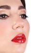 Sexy red lips closeup