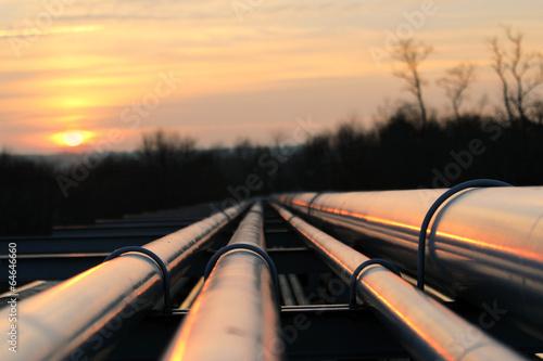 Leinwanddruck Bild crude oil pipeline transportation way  on african continent