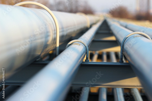 detail of steel light pipeline in oil refinery - 64646677