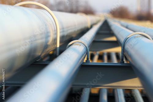 Leinwanddruck Bild detail of steel light pipeline in oil refinery