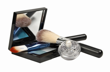 Cosmetics. Various facilities for decorative makeup isolated