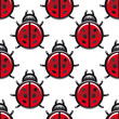 Seamless pattern of a red spotted ladybug