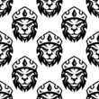 Seamless pattern of a crowned royal lion