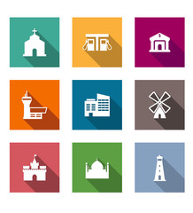 Flat architectural icons