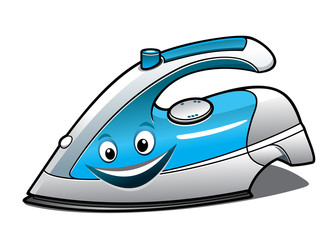 Cheerful cartoon electric iron