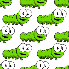Seamless pattern of cartoon green caterpillars
