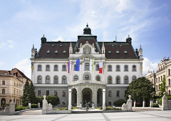 The main building of the University of Ljubljana. Slovenija