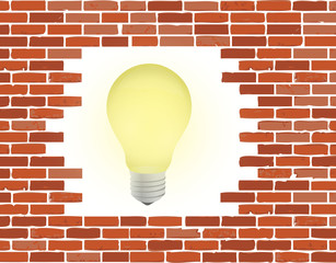 brick wall and light bulb illustration design