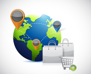 globe and shopping concept illustration