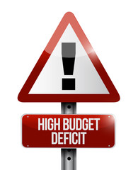 high budget deficit warning sign illustration