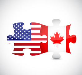 usa and canada flag puzzle pieces illustration