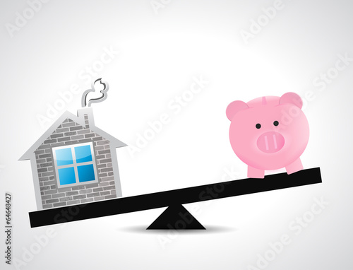 home and savings balance illustration design