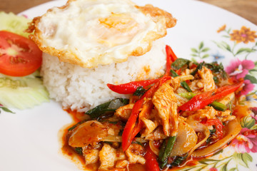 Stir-fried chicken with thai chili paste