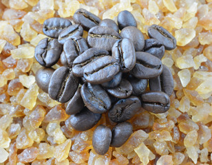 brown cane sugar with coffee beans