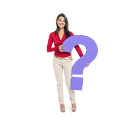 Woman Holding Question Mark