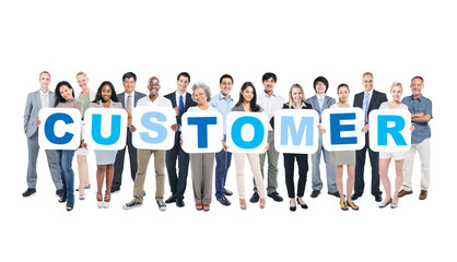 Group of Business People Holding Word Customer