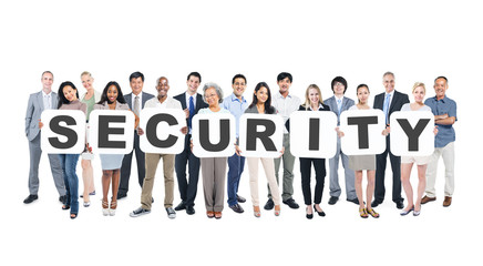 Group of Business People Holding Word Security