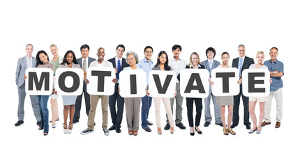 Group of Business People Holding Word Motivate