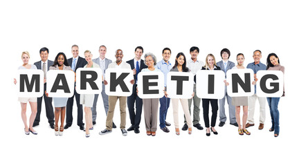 Group Of Diverse People Holding Word Marketing