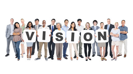 Group Of Diverse People Holding Word Vision