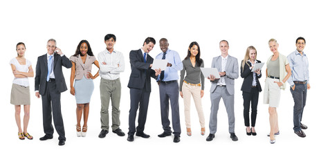 Multiethnic Business People Working in a Row
