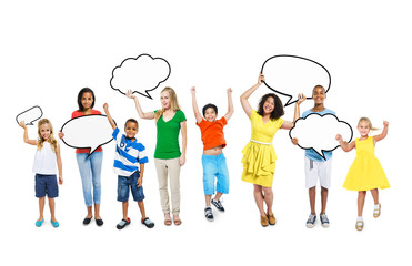Diverse Children and Women Holding Empty Speech Bubble
