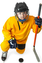 Youth hockey player standing on one knee