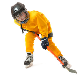 Youth hockey player in crouch position