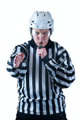 Hockey referee demonstrate a goal signal