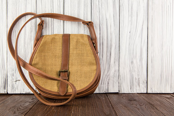 old women bag on an old wooden background
