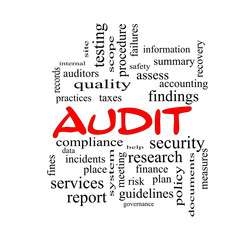 Audit Word Cloud Concept in red caps