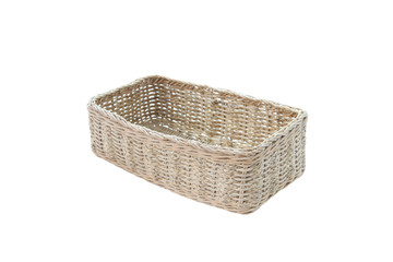 empty wicker basket isolated.