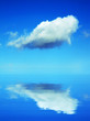 The cloud on blue sky above the ocean