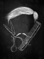 Hair Scissors comb mustache