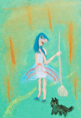 children drawing - witch with broom
