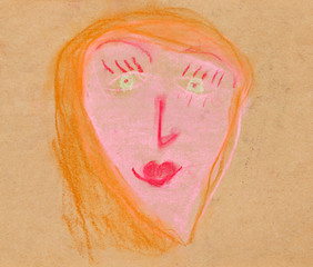 children drawing - woman full face