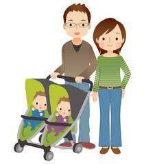 双子の赤ちゃんのいる家族