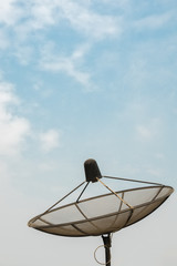 Antenna communication satellite dish on clear sky