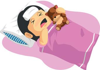 Cartoon of Little Girl Having A Fever