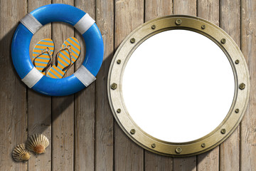 Lifebuoy and Metal Porthole on wooden wall